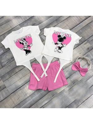 Хлопковые костюмы с ободком (на футболке рисунок двусторонний)